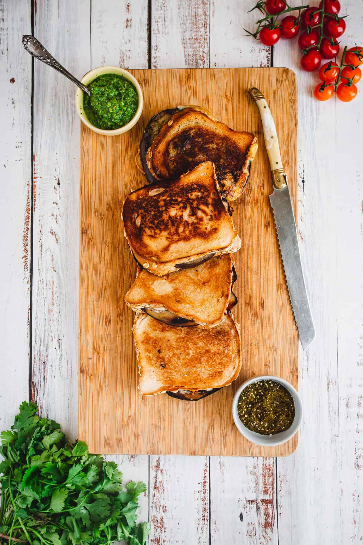 eggplant grilled cheese on cutting board