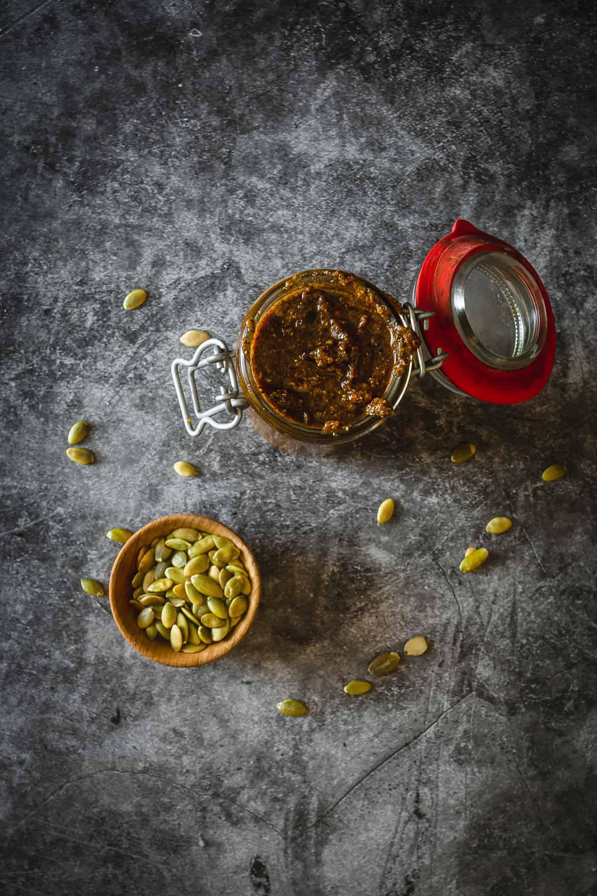 overhead look on jar of pepita salsa