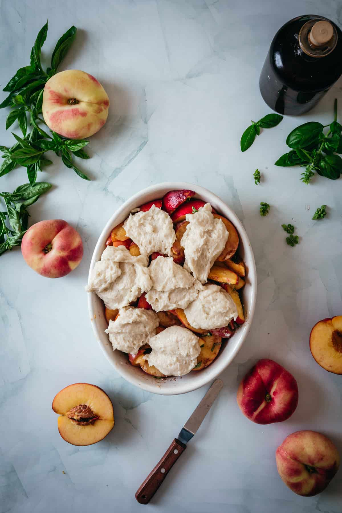 topping on peach cobbler
