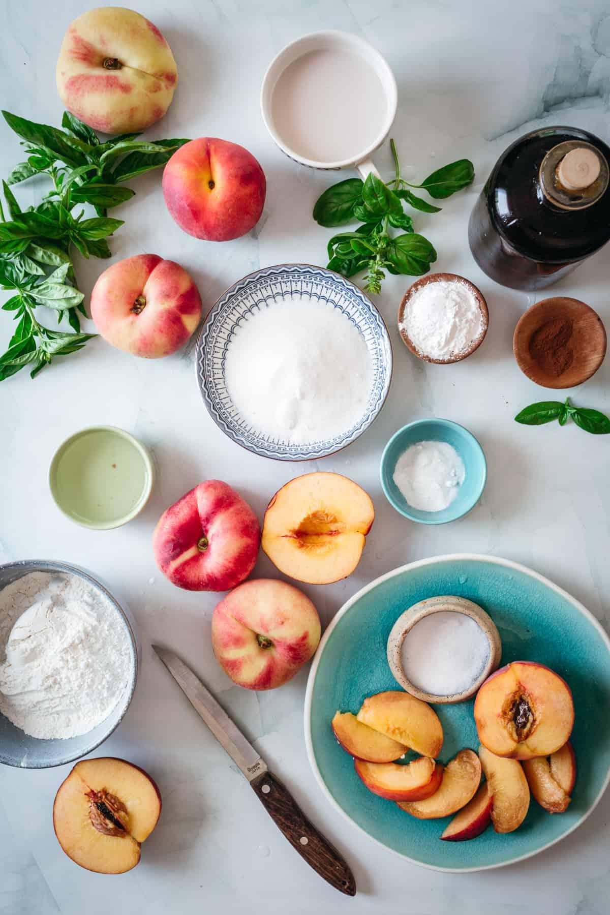ingredients for gluten free peach cobbler