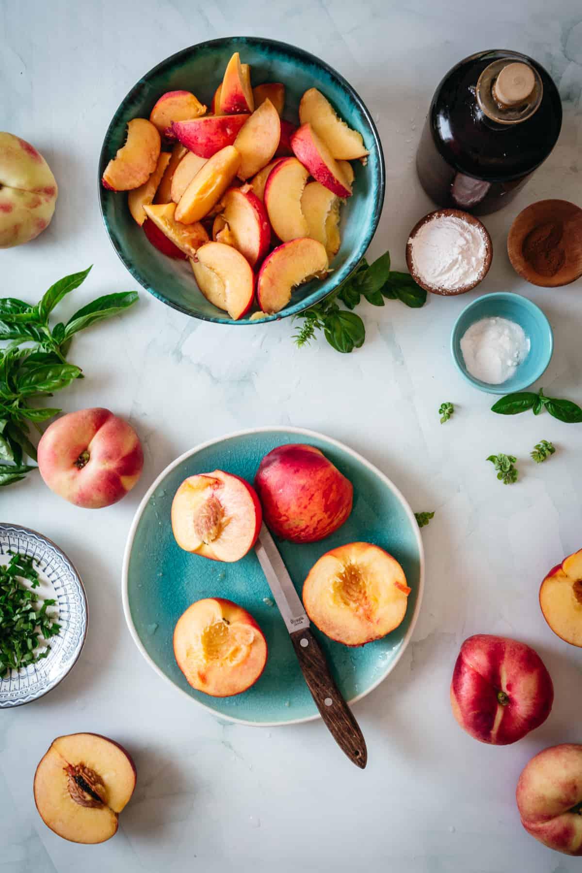 half peaches and basil