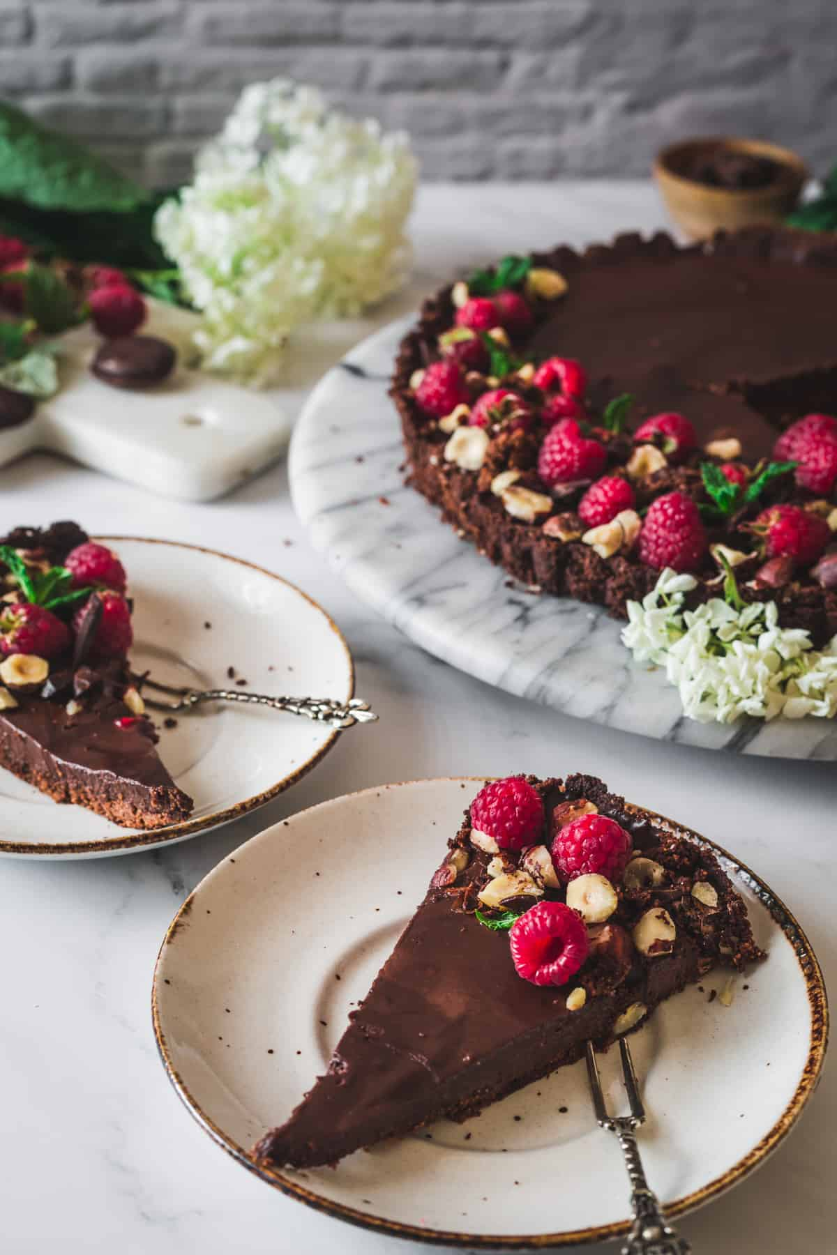 two tart slices on plates