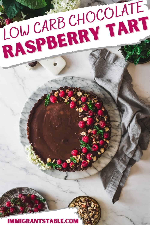Low Carb Chocolate Raspberry Tart