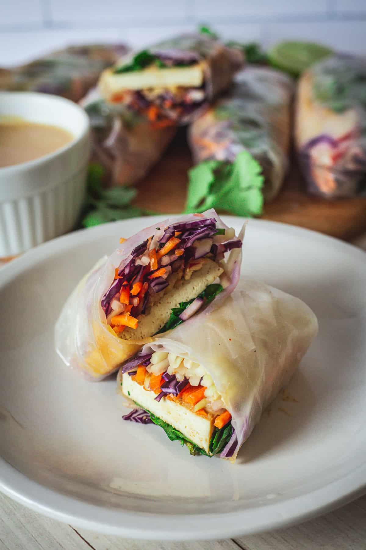 tofu spring roll cut in half