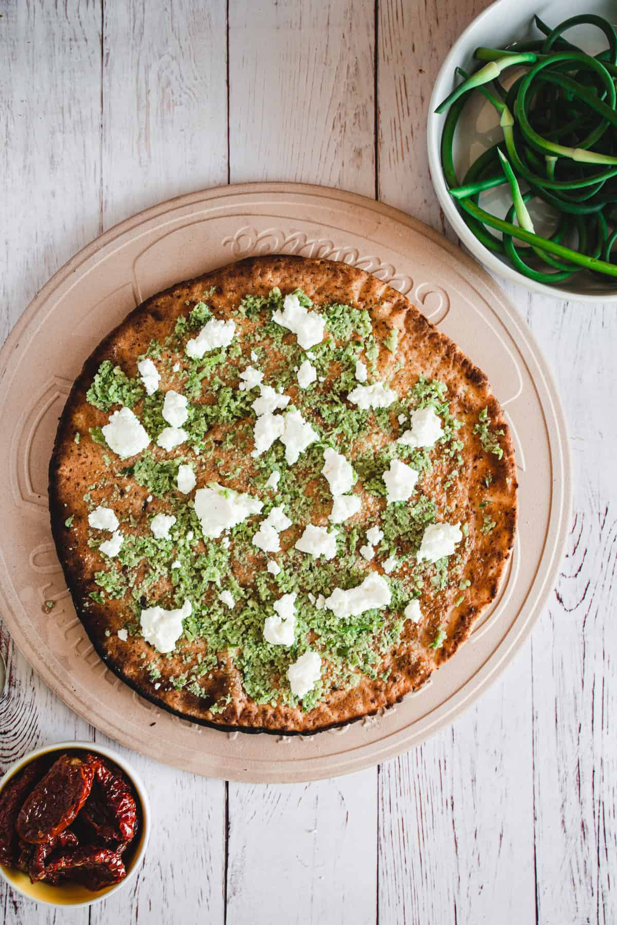 pizza topped with goat cheese