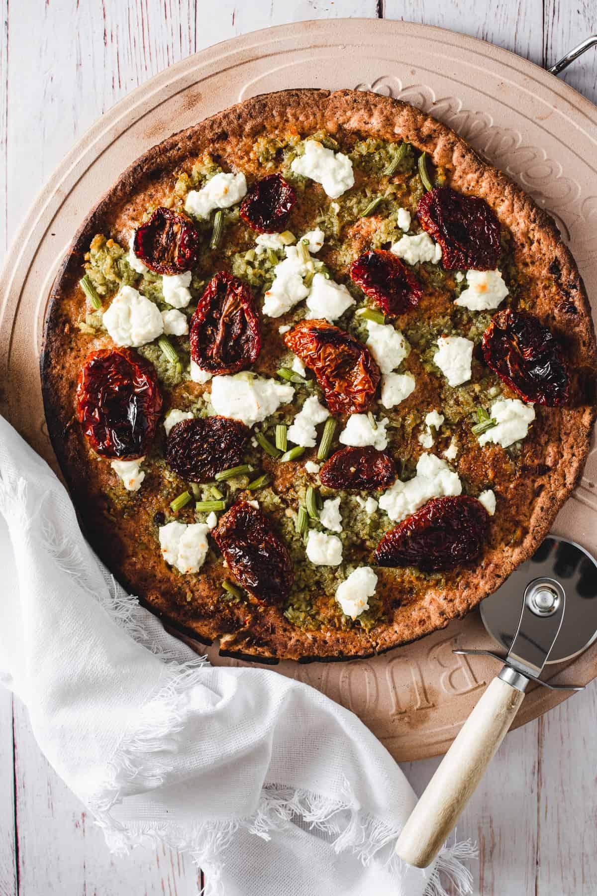 close up of Garlic scape pesto pizza
