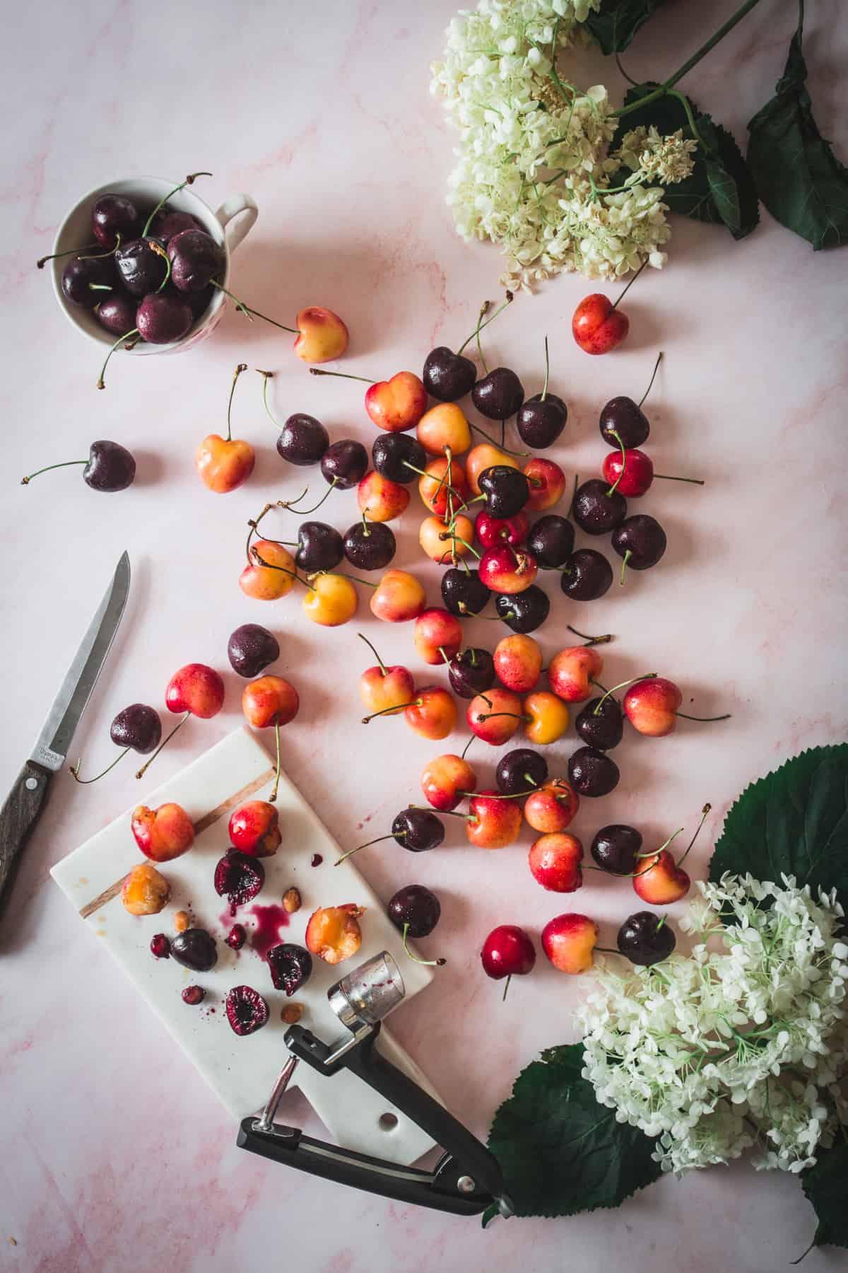 cherries with cherry pitter