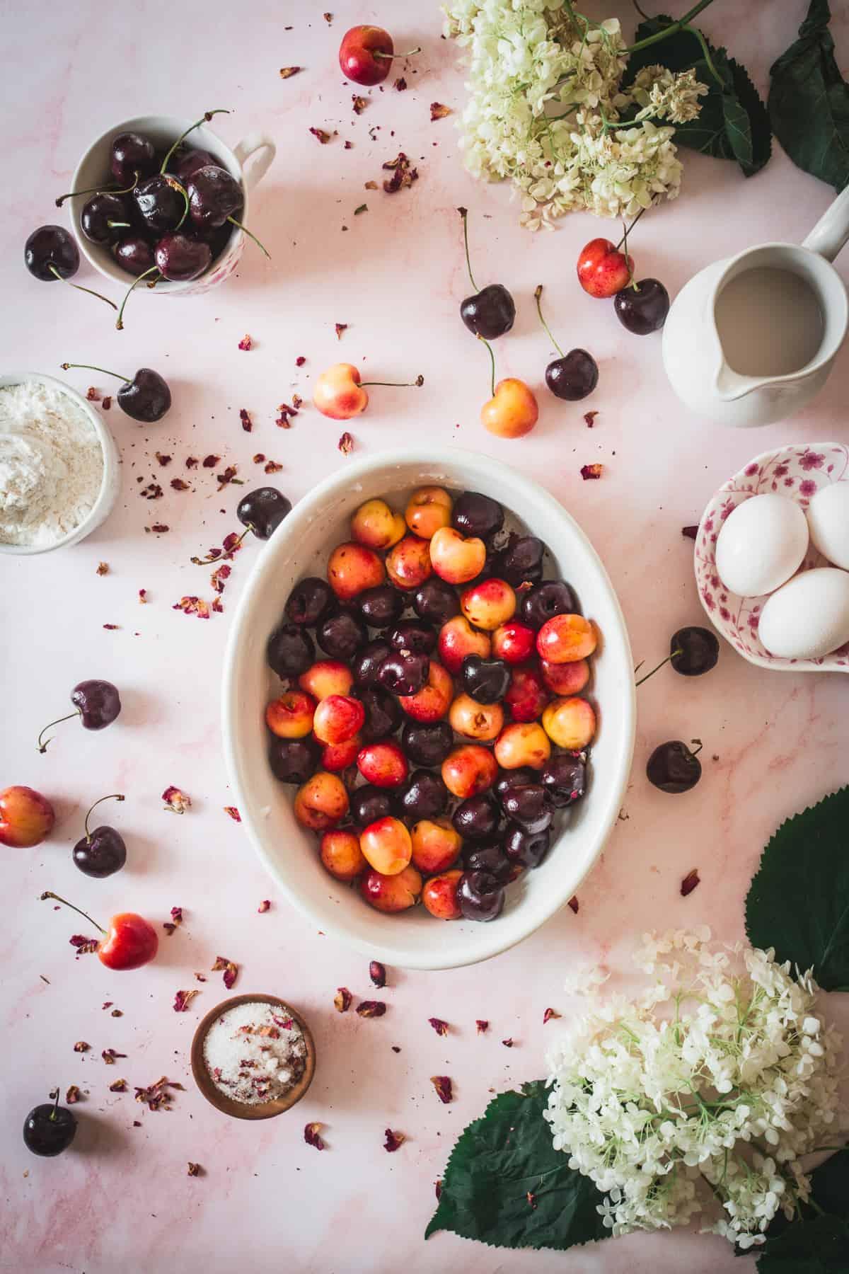 cherries in casserole dish