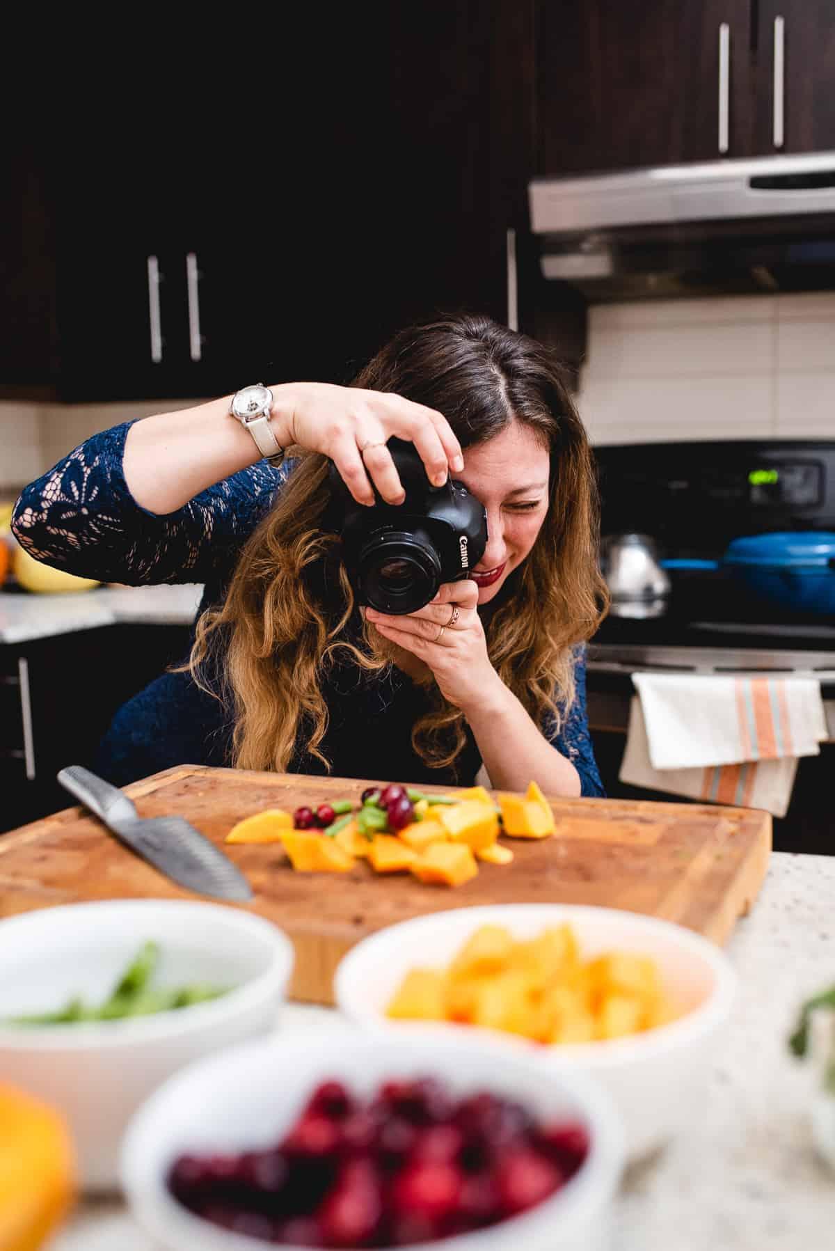 shooting food on cutting board