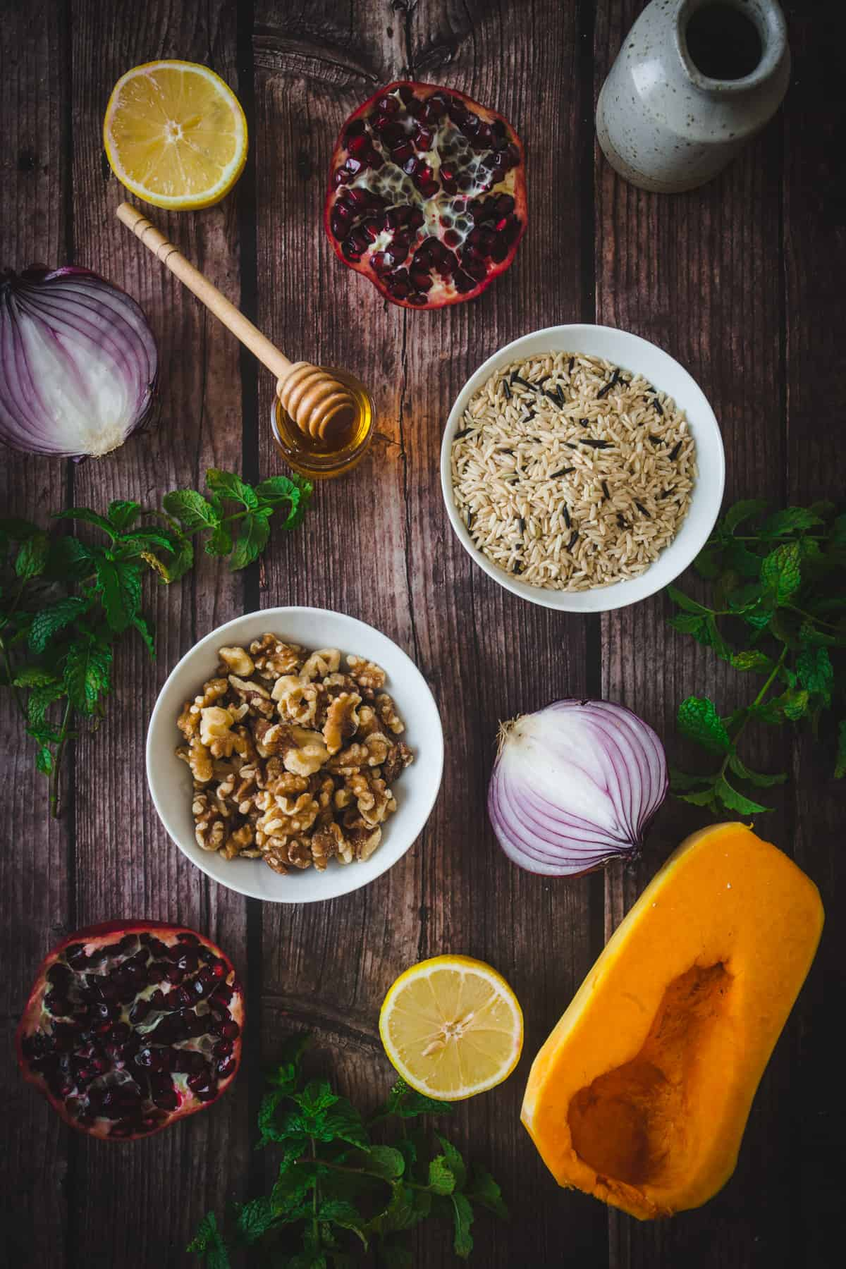 ingredients for wild rice pilaf
