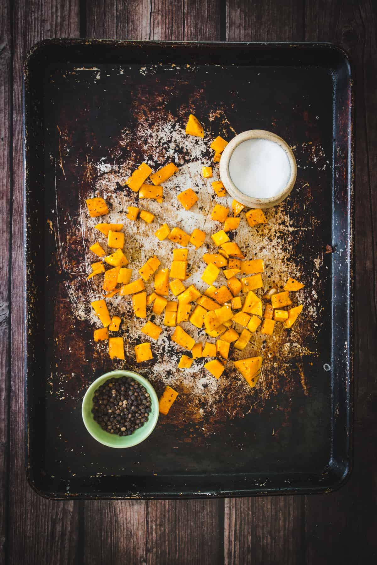 butternut squash on roasting tray