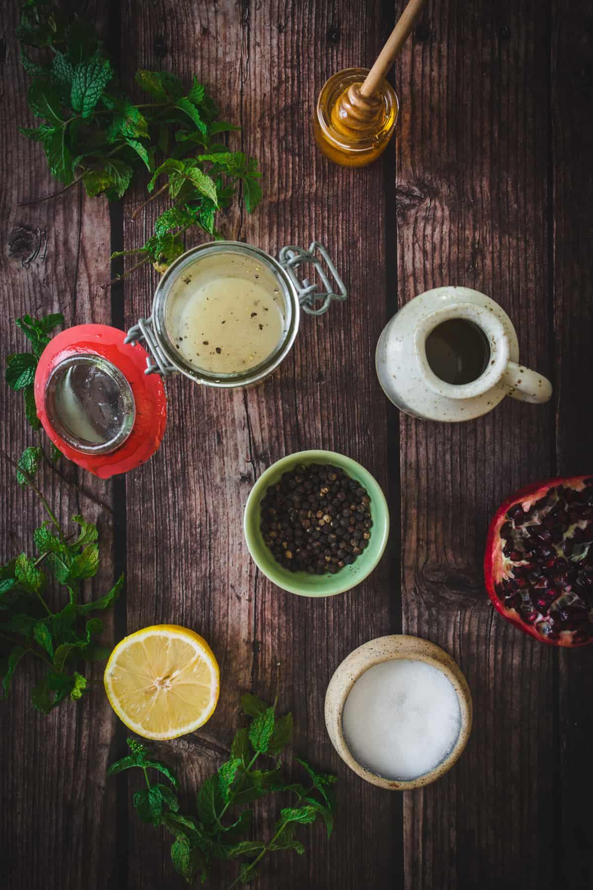 ingredients for honey vinaigrette