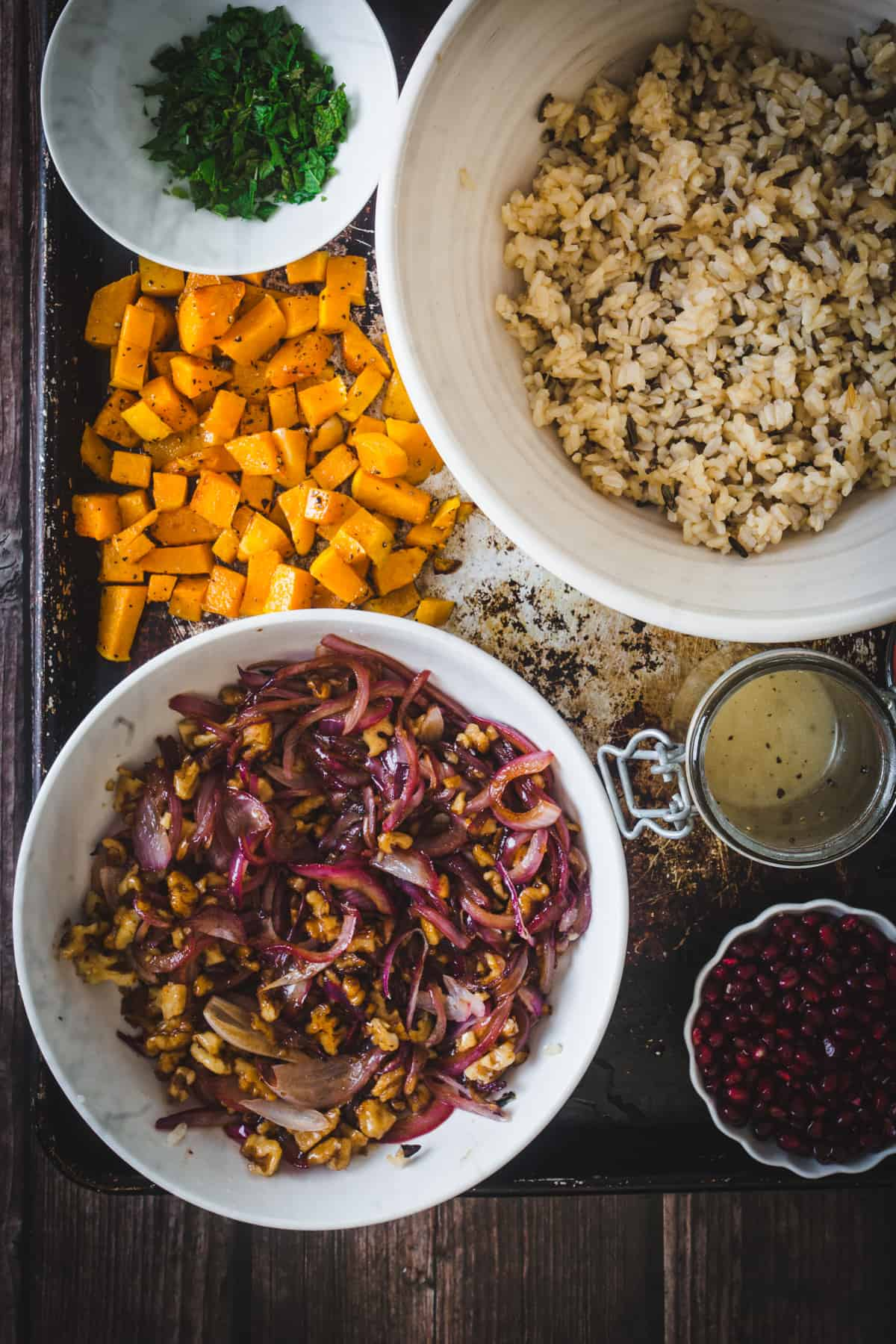 ingredients for assembling wild rice pilaf