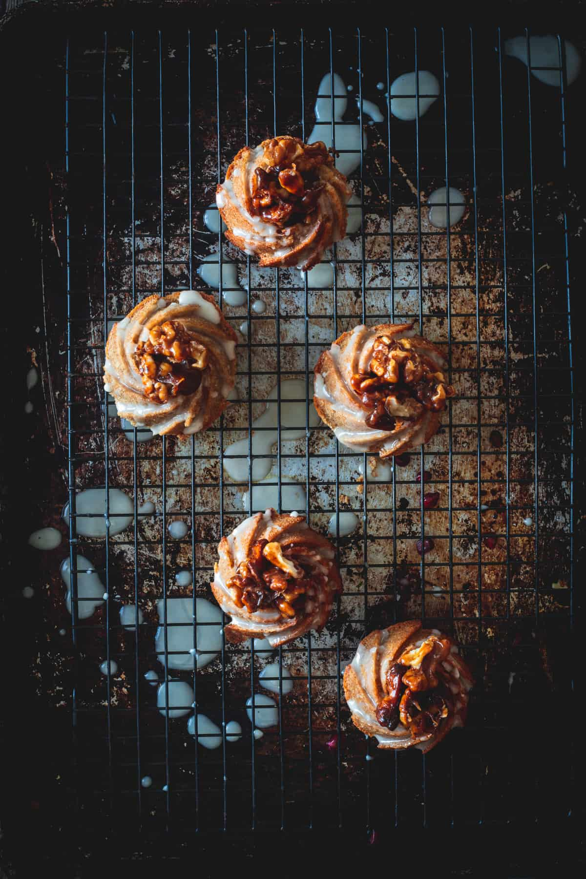 glazed and decorated mini honey bundt cakes