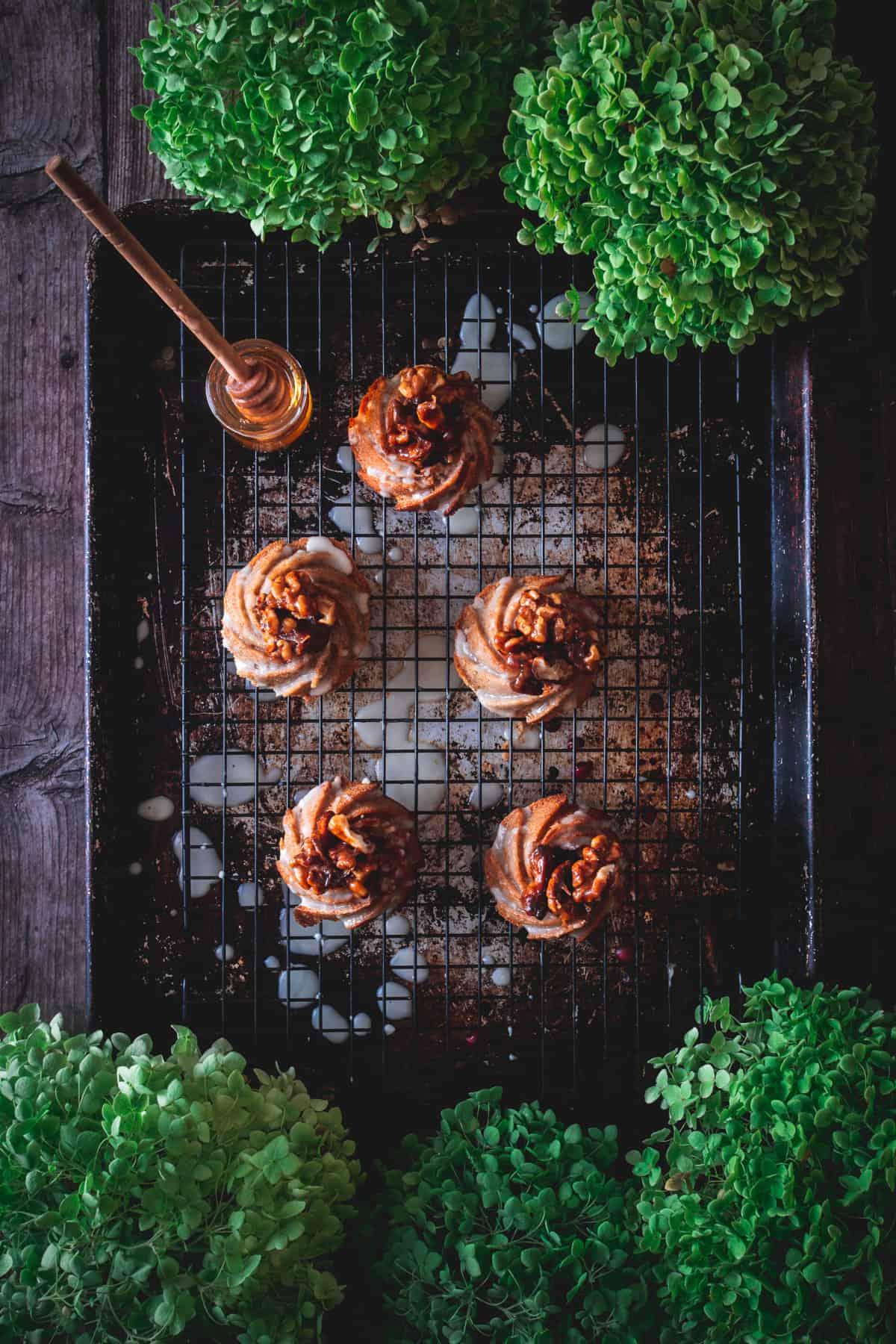 honey cakes on baking sheet with honey