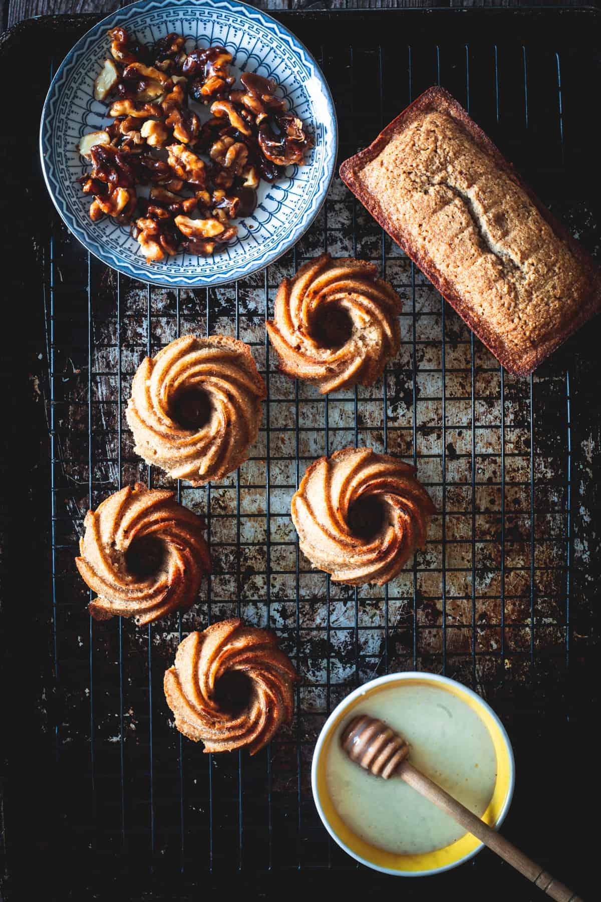 mini gluten free honey cakes with glaze and walnuts