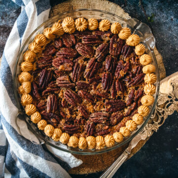 dairy free gluten free pecan pie with knife